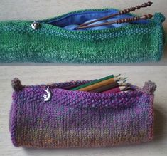 Knitting Needle Case-This pattern is available as a free Ravelry download. A cylindrical needle case wide enough to hold long needles, this pattern can be easily adapted to knit a standard pencil case. Step by step instructions for sewing in the zip and.