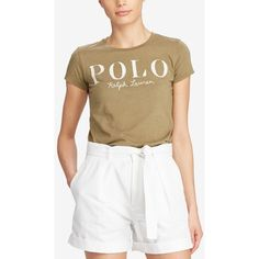 Polo Ralph Lauren Appliqued Cotton Jersey T-Shirt ($33) ❤ liked on Polyvore featuring tops, t-shirts, basic olive, army green t shirt, polo white tees, polo ralph lauren shirts, polo t shirts and white shirts