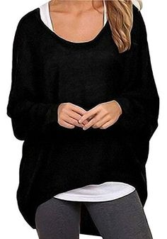 ff490c3235f UGET Women s Sweater Casual Oversized Baggy Off-Shoulder Shirts Batwing  Sleeve Pullover Shirts Tops Asia XL Black