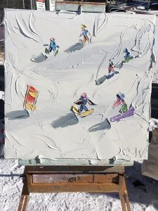 After months of research and planning, Sally West has taken to the slopes to capture the ski season in oil paint. Painting Snow, Painting Abstract, Sally West, Photoshop Filters, Texture Painting, Creative Crafts, Art And Architecture, Color Mixing, Ski Season