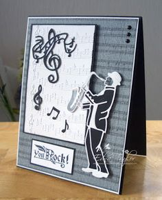Another day, another card: Saxophone Player Duo Birthday Cards For Men, Man Birthday, Musical Cards, Tonic Cards, Studio Cards, Embossed Cards, I Card, Making Ideas, Cardmaking