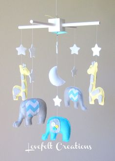 Baby mobile Baby crib Mobile Elephant Mobile by LoveFeltXoXo