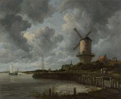 Jacob Isaacksz. van Ruisdael | The Windmill at Wijk bij Duurstede, Jacob Isaacksz. van Ruisdael, c. 1668 - c. 1670 | De molen bij Wijk bij Duurstede. Links de rivier de Lek met een bootje, rechts de molen nabij de oever. In de verte de torens van kasteel Duurstede, rechts de toren van de Sint-Janskerk. Langs de oever lopen enkele vrouwen.