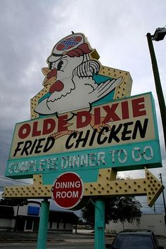 Olde Dixie Fried Chicken Pine Castle, Florida (South of Orlando) now permanently closed :( Old Neon Signs, Vintage Neon Signs, Old Signs, Advertising Signs, Vintage Advertisements, Vintage Ads, Vintage Florida, Old Florida, Central Florida