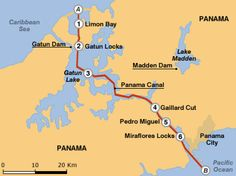 The route of the Panama Canal.