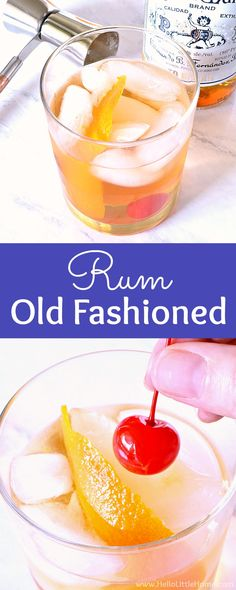 Learn how to make a Rum Old Fashioned Cocktail! This Rum Old Fashioned recipe is a fun twist on the classic Old Fashioned cocktail. Make this Rum Old Fashioned drink from simple, yet high quality ingredients: dark rum, simple syrup, and bitters. This easy dark rum cocktail is perfect for fall, winter, happy hour or a party! | Hello Little Home #oldfashioned #oldfashionedcocktail #cocktailrecipe #cocktails #rumcocktail #darkrum #rumdrink via @ginniel