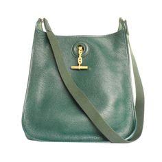 HERMES Vespa PM Vert Fonce Clemence Leather Shoulder Bag