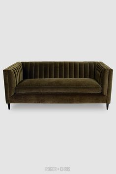 Harley channel-tufted shelter arm sofa in Como Olive velvet with bench cushion and wood dowel legs