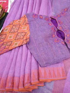 Pure linen saree what's app 9047090885 Cotton Saree Blouse, Saree Blouse Patterns, Designer Blouse Patterns, Saree Blouse Designs, Blouse Styles, Fancy Sarees, Trendy Sarees, Blouse Models, Elegant Saree