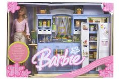 by Mattel - Shop Online for Toys in NZ Barbie Play All Day Kitchen Doll Vintage Barbie, Vintage Toys, Barbie House Furniture, Mattel Shop, Barbie Doll Set, Barbie Playsets, Baby Doll Nursery, Barbie Kitchen, Barbie Doll Accessories