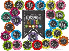 Chalky Classroom Garden Decor- Word Wall Headers are Fowers!  The stems will have the words for that letter!! Garden of Words! Title is on Watering Can!!