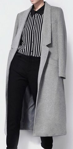 Classic Long Gray Lapel Coat