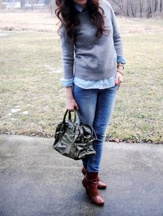 Grey sweater, light chambray shirt, light jeans, brown booties.