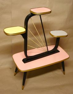 Vintage PLANT STAND with 4 Levels, pink grey yellow, 60s Retro German Midcentury Space Age