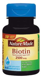 biotin for hair,skin and nails.  recommended 5000mcg- 7500mcg a day. results in several months.
