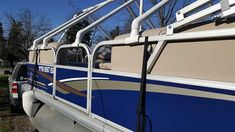 How to Make a Homemade Pontoon Boat Cover Support System Pontoon Boat Covers, Small Pontoon Boats, Pontoon Boating, Boating Tips, Make A Boat, Build Your Own Boat, Diy Boat, Ski Boats, Motor Boats
