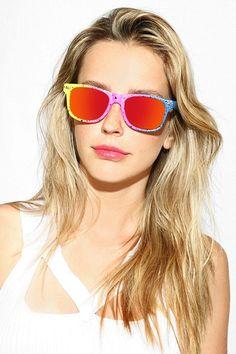 'Jude' Large Splatter Paint Color Mirror Wayfarer Sunglasses - Orange/Green/Yellow - 5538-1