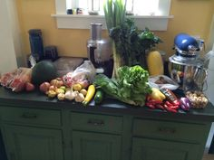 Week 7 - September 2, 2014: Cherry, grape and large slicer tomatoes, spaghetti squash, sugar baby watermelon, tomatillo, scallions, potatoes, sweet peppers, rainbow lacinato kale, summer squash, lettuce, yellow onions, shallots, garlic and ground cherries.