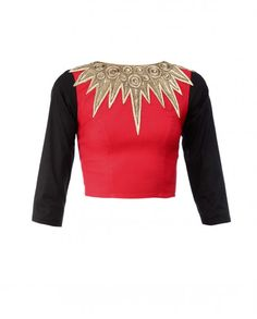 Zari Embroidered Black and Red Crop Top