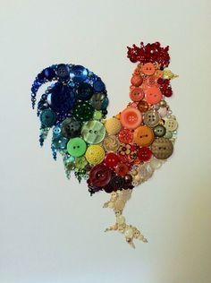 "9""x12"" Kitchen Rooster Kitchen Art Buttons and Swarovski Art Great Gift Unique Gift Housewarming Gift 9x12"
