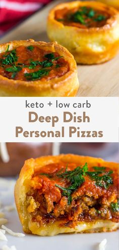 Keto Deep Dish Pizza Personals (Low Carb, Grain Free) This keto deep dish pizza is made for the individual. Giving you keto pizza in the palm of your hand that's grain free, and completely low carb. Ketogenic Recipes, Low Carb Recipes, Whole Food Recipes, Diet Recipes, Cooking Recipes, Healthy Recipes, Protein Recipes, Shrimp Recipes, Turkey Recipes
