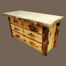 """We just finished our first """"Grizzly Aspen"""" 6-drawer log dresser.  Handcrafted in the USA."""