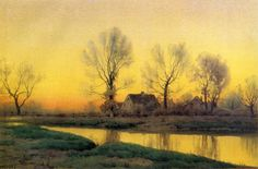 Henry Farrer - Landscape with a House near a Lake