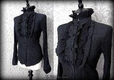 Black Lacey Bib High Collar Shirt S 8 10 Goth Victorian Vamp Steampunk Pirate | THE WILTED ROSE GARDEN