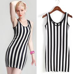 one-piece dresses stores black and white vertical stripe tank dress slim hip long design spaghetti strap new arrival hot sell $42.99