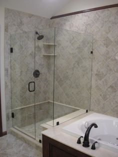 finished shower bathroom take a shower pinterest. Black Bedroom Furniture Sets. Home Design Ideas