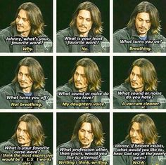 Funny interview question answers from Johnny Depp. <3