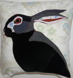 Hare Cushion Cover  Hare Pillow Cover   Cushion by RoobarbTree