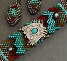 Free Form Peyote Stitch Beaded Bracelet Beaded Earrings by Cheri C Meyer, $150.00