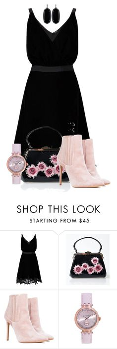 """""""Velvet Dress and Boots"""" by tlb0318 on Polyvore featuring Miss Selfridge, Voodoo Vixen, Ted Baker and Kendra Scott"""
