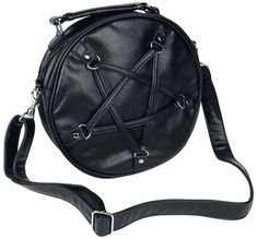 Banned - Big Pentagram handbag - Black, round handbag - Large pentagram made of straps on the front - With carrying handle - With detachable star pendant on the carrying handle - With pocket on the back - Zipped inside pocket - One inside pocket for smartphone and belongings - Two inside pen holders - With adjustable shoulder strap from approx. 63 - 119 cm - Diameter: approx. 27.5 cm - Depth: approx. 6.5 cm The Big Pentagram handbag by Banned has a carrying handle and a continuously…