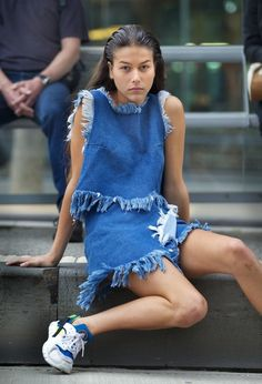 Marques Almeida. denim dress, outfit, blue dress, sneakers, street style, fashion