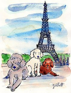 Does your pet want to go to Paris? This is 'London' visiting Paris. Madge and Mollie in Paris ensemble/ together. Tour Eiffel, I Love Dogs, Puppy Love, Paris Illustration, Pink Poodle, Paris Art, Paris Theme, Oui Oui, Whimsical Art