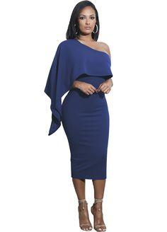 1dc112a8ff7d2c Ruffle Detail One Shoulder Midi Dress Midi Dress Dresses Sexy Lingeire