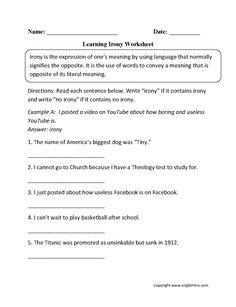 Middle School Irony Worksheets | School Worksheets