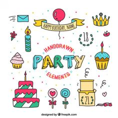 Hand drawn elements of party Free Vector