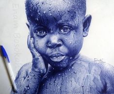 Enam Bosokah's exquisite photorealistic portraits are created using a ballpoint pen.