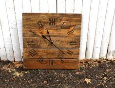 Large Wall Clock,  Rustic.  Reclaimed Pallet Wood CUSTOM. Warm Coffee.  Repurposed Wood.