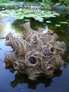 Basketry sculpture by Monika Nickel Sculpture Textile, Sculpture Art, Metal Sculptures, Abstract Sculpture, Bronze Sculpture, Contemporary Baskets, Contemporary Art, Land Art, Performance Artistique