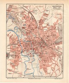 1895 Hannover Germany Antique Map Vintage by Craftissimo on Etsy