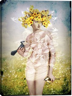 Spring Figurative Canvas Wall Art Print by Catrin Welz-Stein