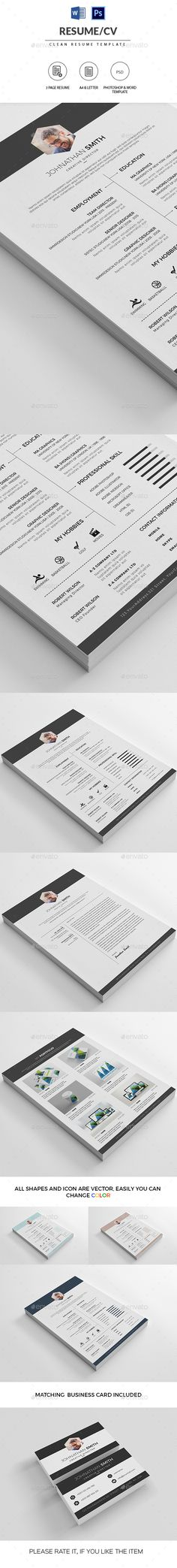 Clean Resume / CV Template PSD #design Download: http://graphicriver.net/item/clean-resumecv/14440266?ref=ksioks