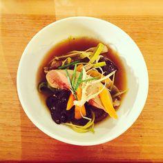 """Essai réussi au Restaurant Le Servant, Paris 11ème !! Foie gras vapeur, bouillon de légumes """"japonese style"""" à tomber !!! Je recommande :) Nice shot at Le Servan restaurant in Paris 11!  I enjoyed so much the steamed foie gras with """"japonese style"""" vegetable broth! Strongly recommended!! #parisianblackbook #leservan @lefooding #foodlover #foodblog #parisblogger #yummy #foiegras #gourmet #instafood #instagood #broth #ttbon #huffposttaste #lefooding"""