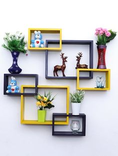 Nexa Decor new variance of Wall Shelf Rack Set of 6 Intersecting Wall Shelves - yellow & purple - 16345387 - Standard Image - 1 Decor, House Decor Rustic, Home Room Design, Home Decor Shelves, Ceiling Design Bedroom, Wall Shelves Design, Wall Shelves Living Room, Living Room Wall Designs, House Interior Decor