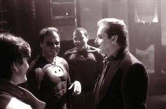 Michael Keaton and Jack Nicholson on the set of BATMAN 1989. This is only photo I've seen of an actor playing Batman with the black eye makeup (sans mask). http://ift.tt/2ifWfHe #timBeta