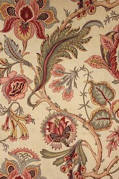 Vintage French large scale Indienne floral pattern aged fabric upholstery c1900